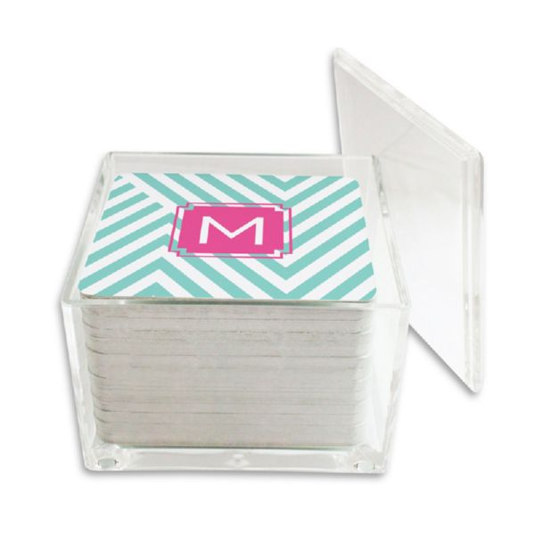 Modern Chevron Personalized Paper Drink Coasters (125 in holder)