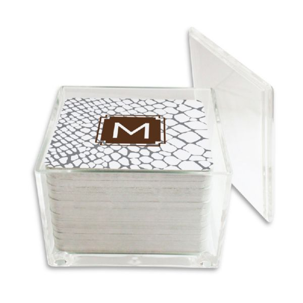 Snakeskin Personalized Paper Drink Coasters (125 in holder)