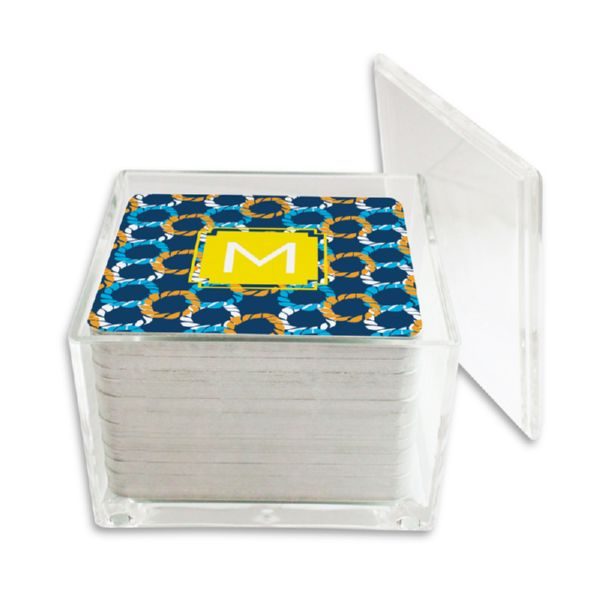 Nautical Knots Personalized Paper Drink Coasters (125 in holder)