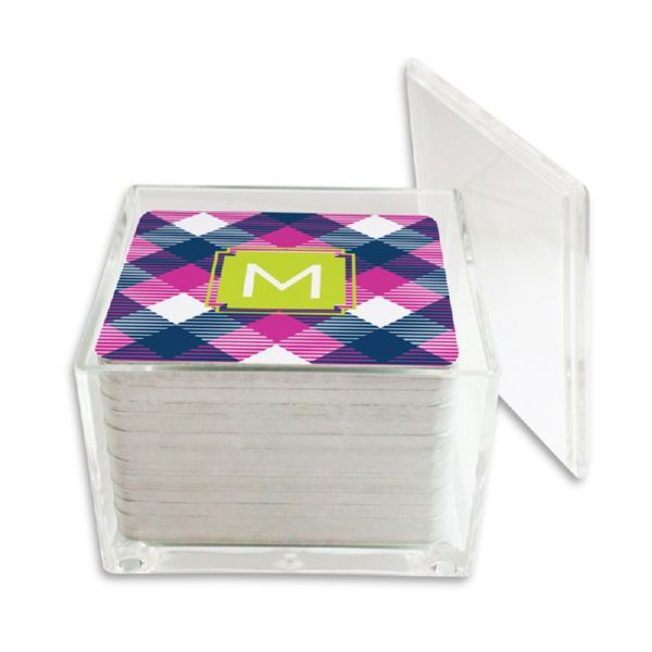 Tartan Personalized Paper Drink Coasters (125 in holder)