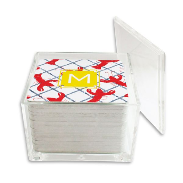Rock Lobster Personalized Paper Drink Coasters (125 in holder)