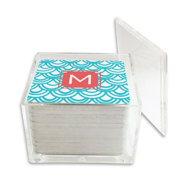 Seashells Personalized Paper Drink Coasters (125 in holder)