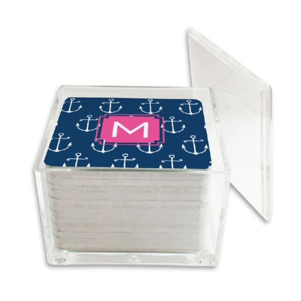Salty Personalized Paper Drink Coasters (125 in holder)
