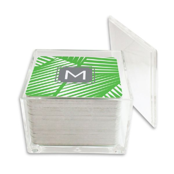 Palm Personalized Paper Drink Coasters (125 in holder)