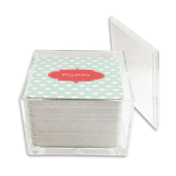 Minnie Personalized Paper Drink Coasters (125 in holder)