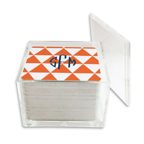 Triangles Personalized Paper Drink Coasters (125 in holder)