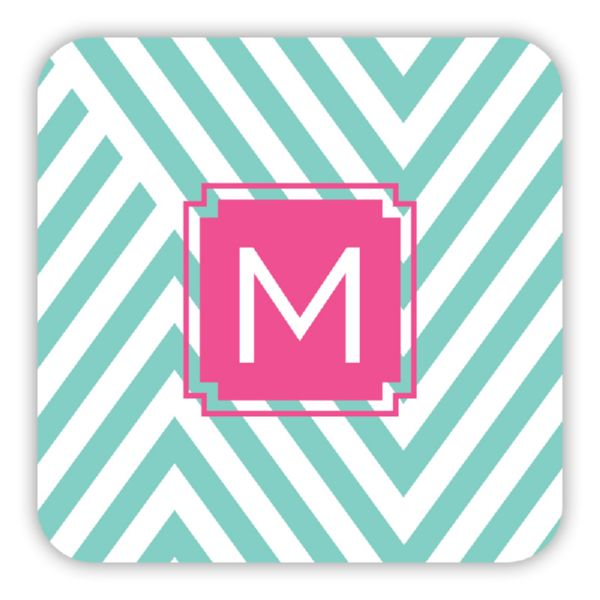 Modern Chevron Personalized Paper Drink Coasters (125)