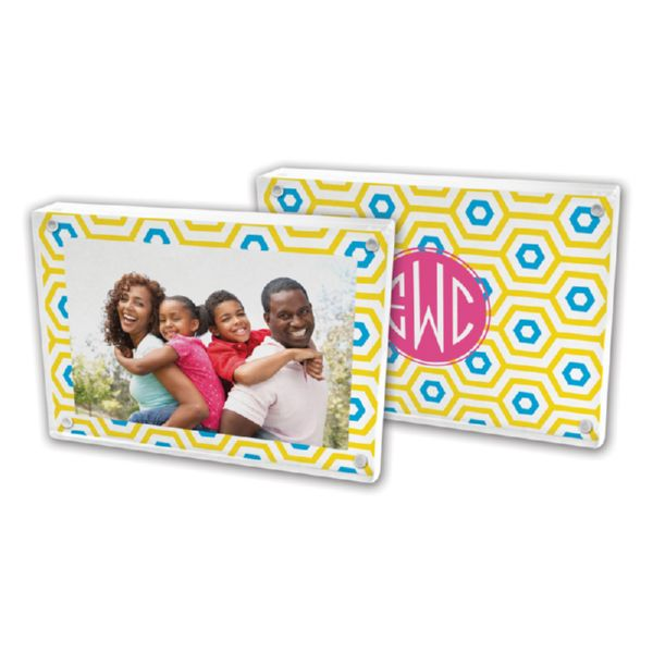 Happy Hexagon Personalized 5x7 Picture Frame (Lucite)
