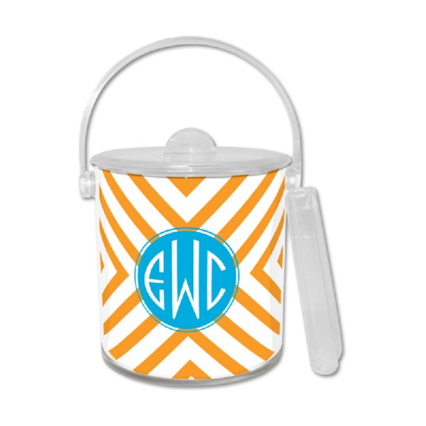 Chevron Personalized Ice Bucket with Tongs