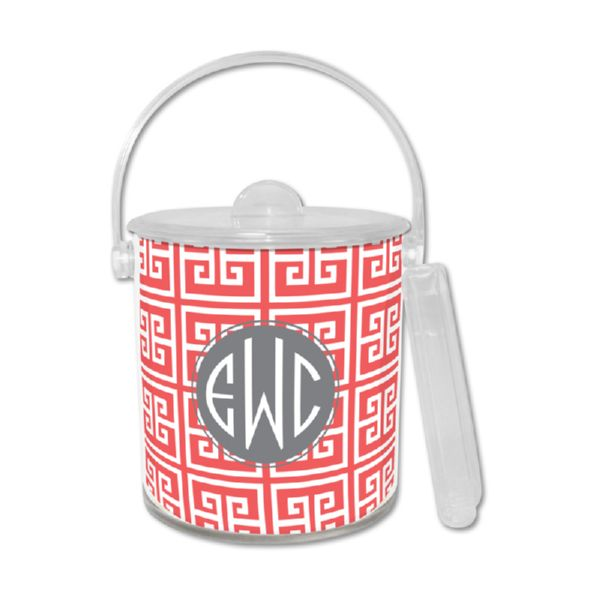 Greek Key Personalized Ice Bucket with Tongs