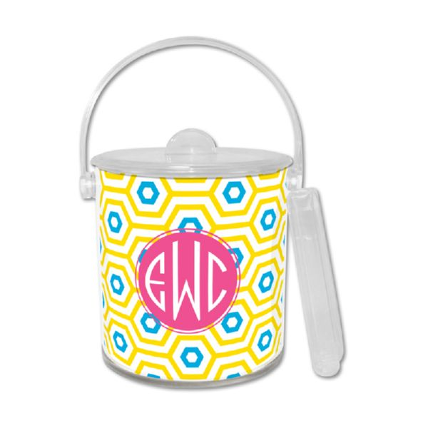 Happy Hexagon Personalized Ice Bucket with Tongs