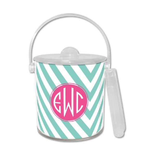Modern Chevron Personalized Ice Bucket with Tongs