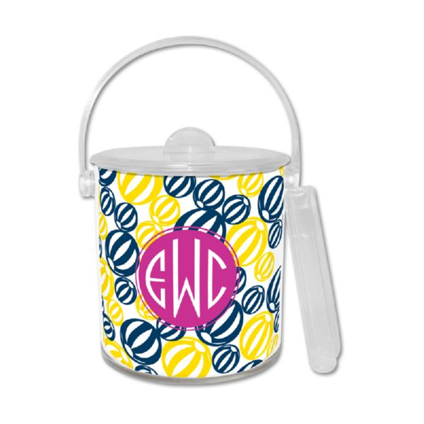 Palm Springs Personalized Ice Bucket with Tongs