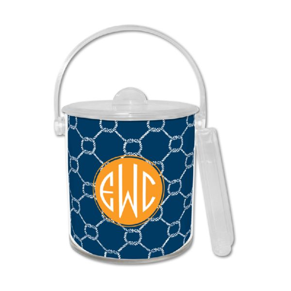 Rope Personalized Ice Bucket with Tongs