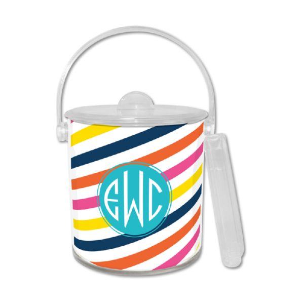 Fruit Stripe Personalized Ice Bucket with Tongs