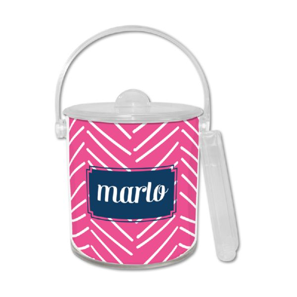 Little Lines Personalized Ice Bucket with Tongs