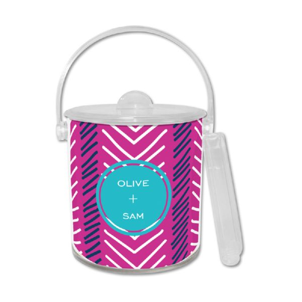 Topstitch Personalized Ice Bucket with Tongs