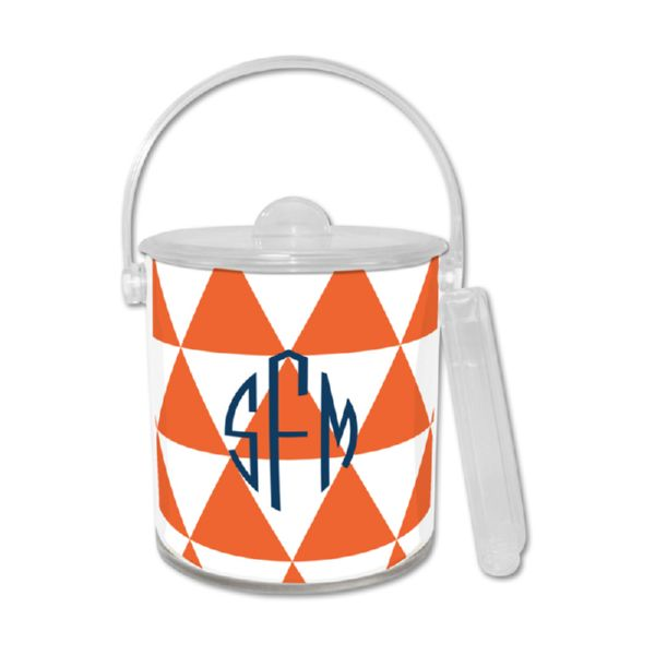 Triangles Personalized Ice Bucket with Tongs