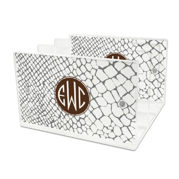 Snakeskin Personalized Lucite Letter Tray, 2 inserts
