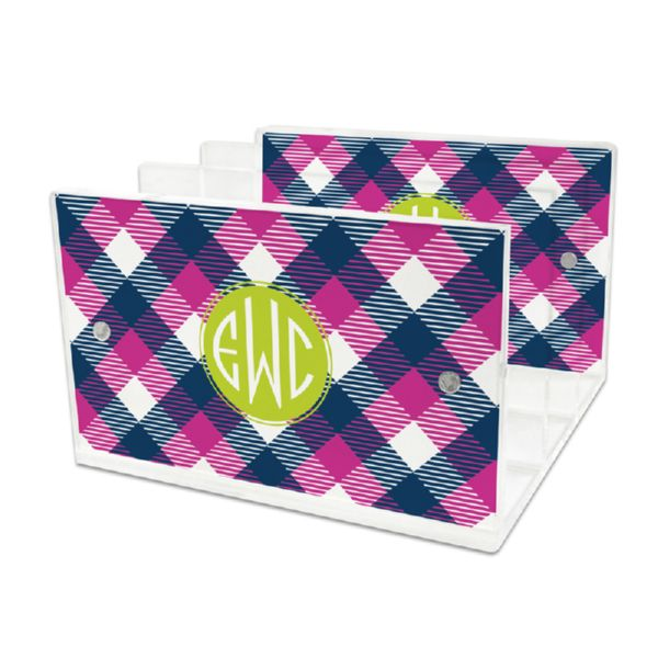 Tartan Personalized Lucite Letter Tray, 2 inserts