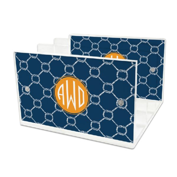 Rope Personalized Lucite Letter Tray, 2 inserts