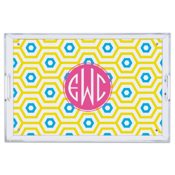 Happy Hexagon Personalized Large Serving Tray (Lucite)