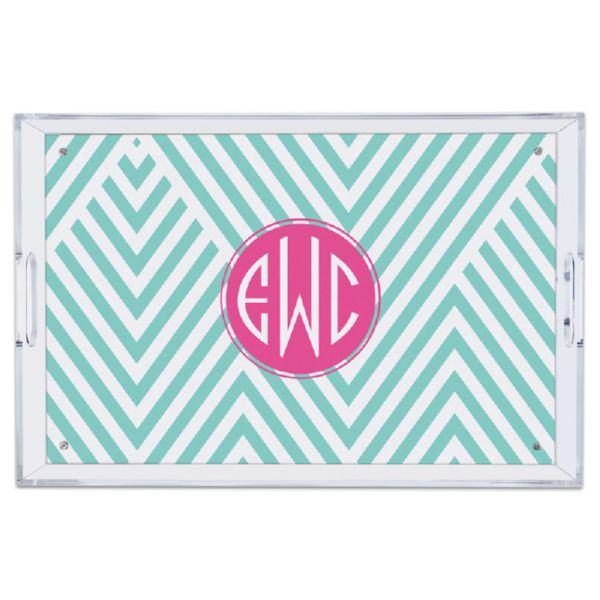 Modern Chevron Personalized Large Serving Tray (Lucite)