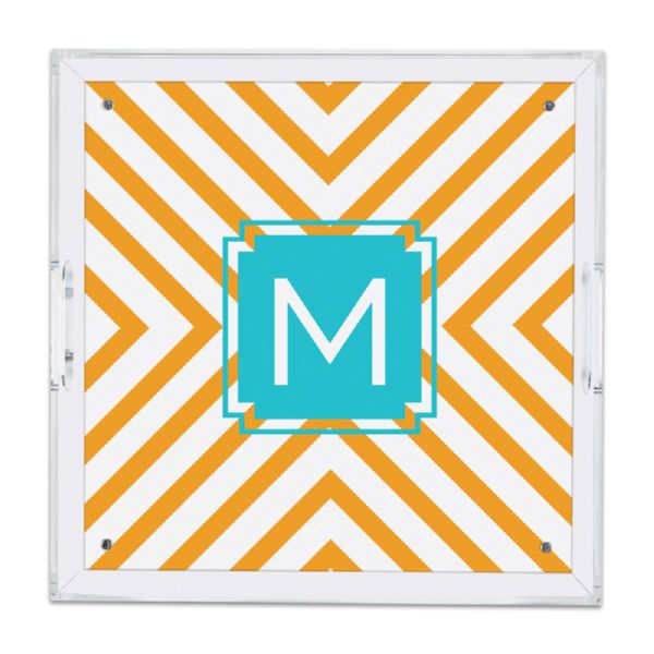 Chevron Personalized Square Serving Tray (Lucite)