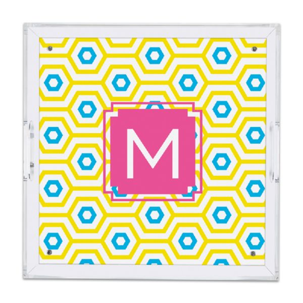 Happy Hexagon Personalized Square Serving Tray (Lucite)