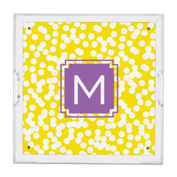 Hole Punch Personalized Square Serving Tray (Lucite)