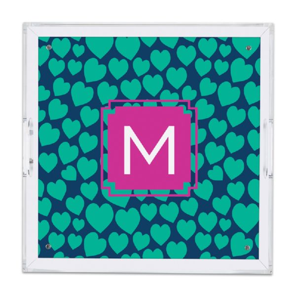 Love Struck Personalized Square Serving Tray (Lucite)