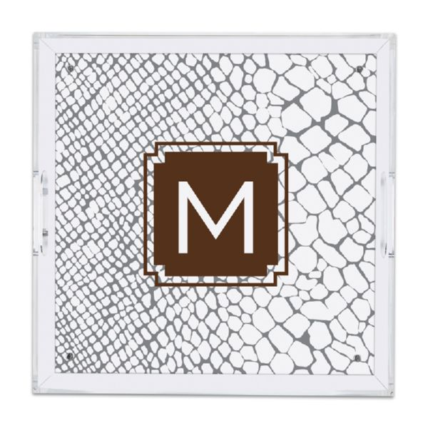 Snakeskin Personalized Square Serving Tray (Lucite)