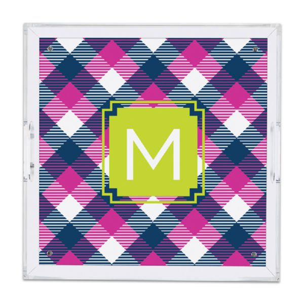 Tartan Personalized Square Serving Tray (Lucite)