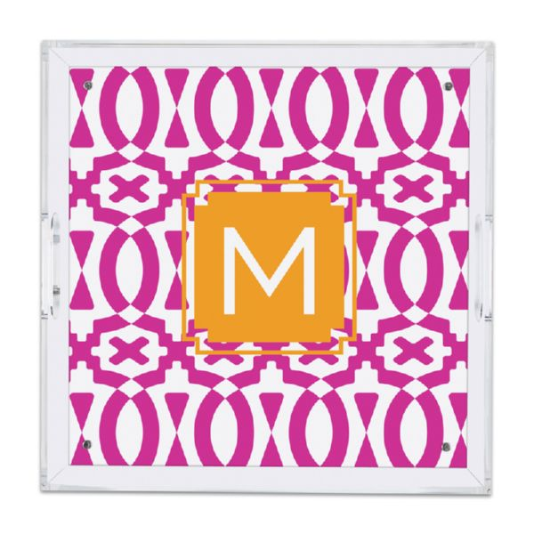 Poppy Personalized Square Serving Tray (Lucite)