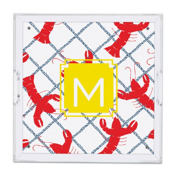Rock Lobster Personalized Square Serving Tray (Lucite)