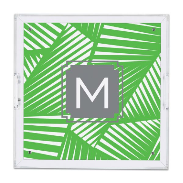 Palm Personalized Square Serving Tray (Lucite)