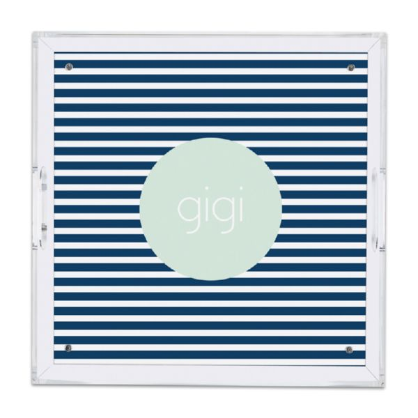 Cabana 3 Personalized Square Serving Tray (Lucite)
