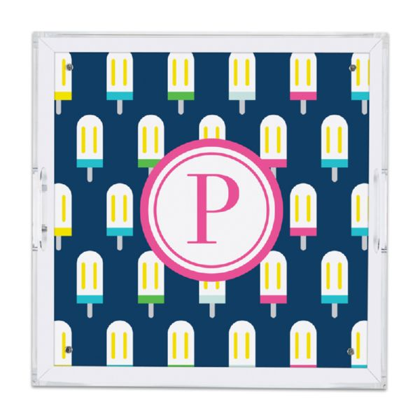 Let's Pop Personalized Square Serving Tray (Lucite)