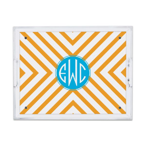 Chevron Personalized Small Serving Tray (Lucite)