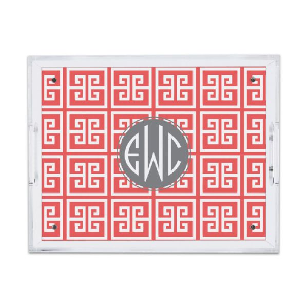 Greek Key Personalized Small Serving Tray (Lucite)