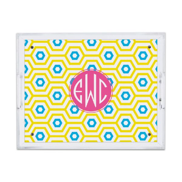 Happy Hexagon Personalized Small Serving Tray (Lucite)