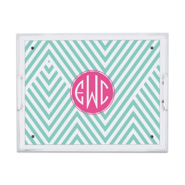 Modern Chevron Personalized Small Serving Tray (Lucite)