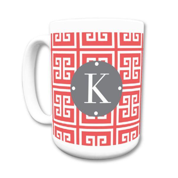 Greek Key Personalized Coffee Mug 15oz