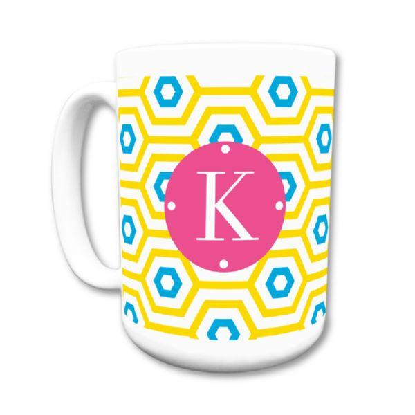 Happy Hexagon Personalized Coffee Mug 15oz