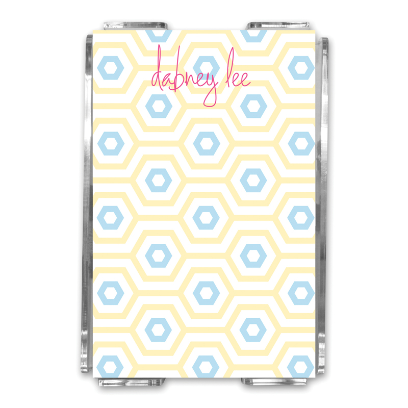 Happy Hexagon Personalized Memo Notes in Holder (150 sheets)