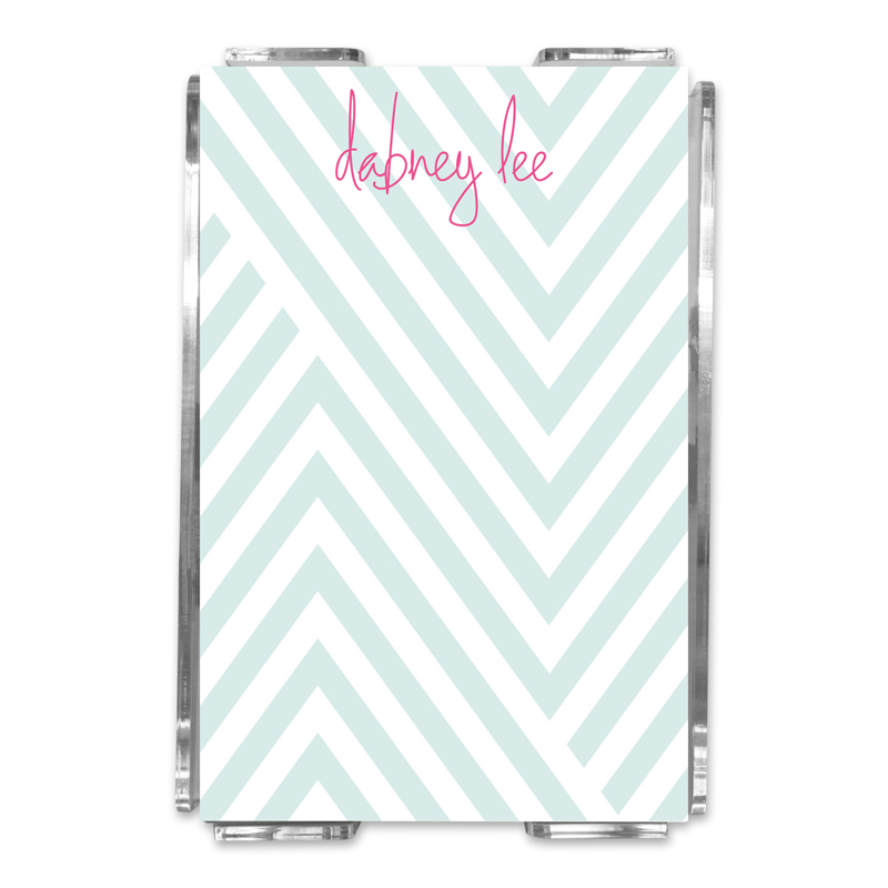 Modern Chevron Personalized Memo Notes in Holder (150 sheets)