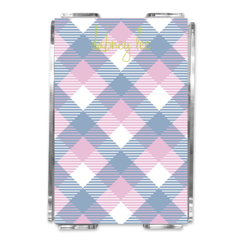 Tartan Personalized Memo Notes in Holder (150 sheets)