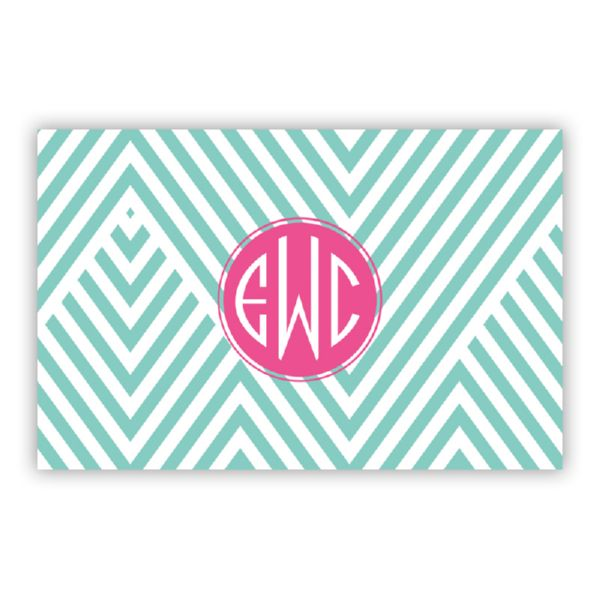 Modern Chevron Personalized Double-Sided Laminated Placemat