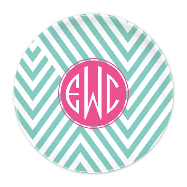 Modern Chevron Personalized Dinner Plate