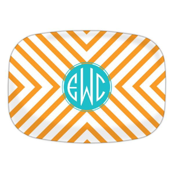 Chevron Personalized Oval Platter